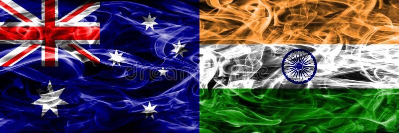 Australien gegen die bunte Rauchflagge Indiens gemacht vom dicken Rauche vektor abbildung