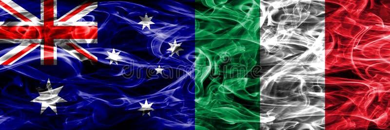 Australien gegen die bunte Rauchflagge Italiens gemacht vom dicken Rauche vektor abbildung