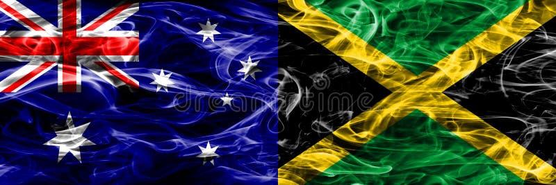 Australien gegen die bunte Rauchflagge Jamaikas gemacht vom dicken Rauche stock abbildung