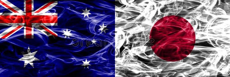 Australien gegen die bunte Rauchflagge Japans gemacht vom dicken Rauche stock abbildung