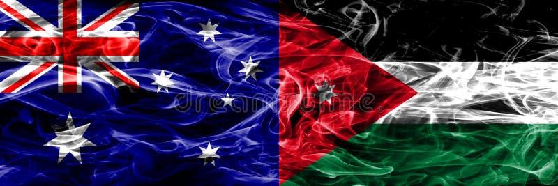 Australien gegen die bunte Rauchflagge Jordaniens gemacht vom dicken Rauche lizenzfreie abbildung