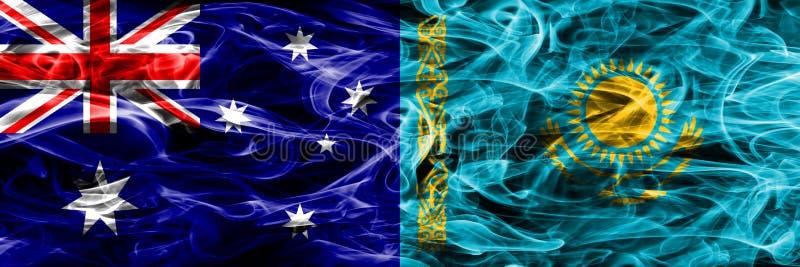 Australien gegen die bunte Rauchflagge Kasachstans gemacht vom dicken Rauche vektor abbildung