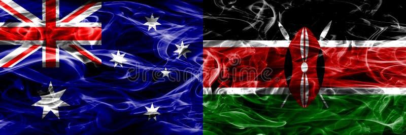 Australien gegen die bunte Rauchflagge Kenias gemacht vom dicken Rauche stock abbildung