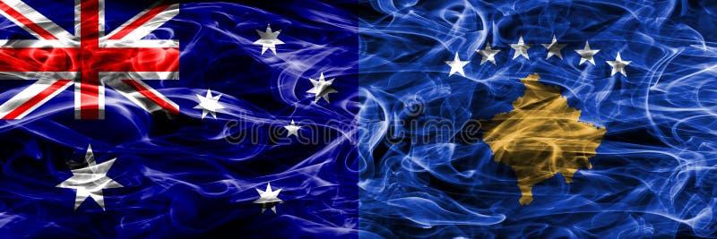 Australien gegen die bunte Rauchflagge Kosovos gemacht vom dicken Rauche lizenzfreie abbildung