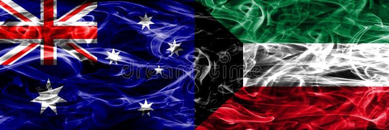 Australien gegen die bunte Rauchflagge Kuwaits gemacht vom dicken Rauche lizenzfreie abbildung