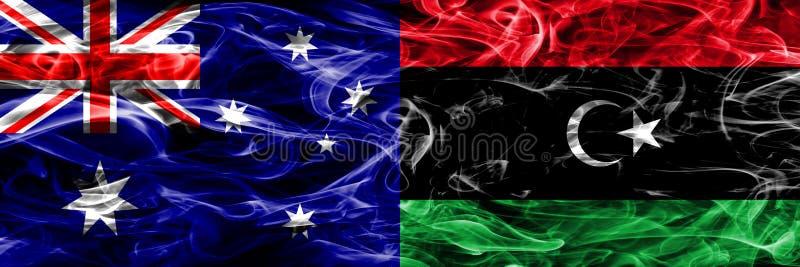 Australien gegen die bunte Rauchflagge Libyens gemacht vom dicken Rauche stock abbildung