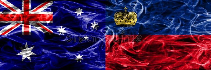 Australien gegen die bunte Rauchflagge Liechtensteins gemacht vom dicken smo lizenzfreie abbildung