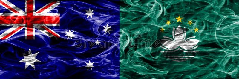 Australien gegen die bunte Rauchflagge Macaos gemacht vom dicken Rauche vektor abbildung