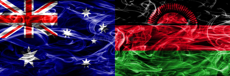 Australien gegen die bunte Rauchflagge Malawis gemacht vom dicken Rauche stock abbildung