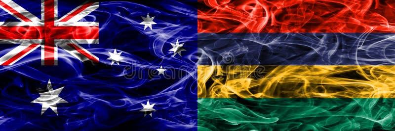 Australien gegen die bunte Rauchflagge Mauritius gemacht vom dicken Rauche vektor abbildung