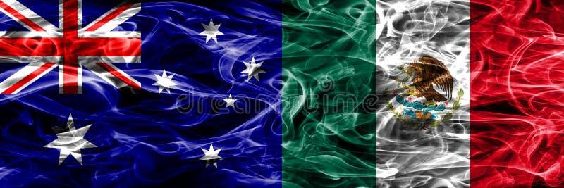 Australien gegen die bunte Rauchflagge Mexikos gemacht vom dicken Rauche lizenzfreie abbildung