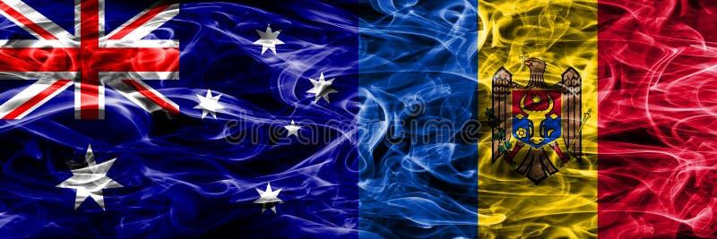 Australien gegen die bunte Rauchflagge Moldau gemacht vom dicken Rauche lizenzfreie abbildung