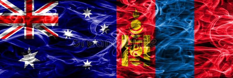Australien gegen die bunte Rauchflagge Mongolei gemacht vom dicken Rauche stock abbildung