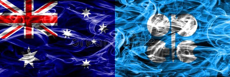 Australien gegen die bunte Rauchflagge OPEC gemacht vom dicken Rauche lizenzfreie abbildung