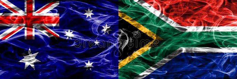 Australien gegen die bunte Rauchflagge Südafrikas gemacht vom dicken Rauche vektor abbildung