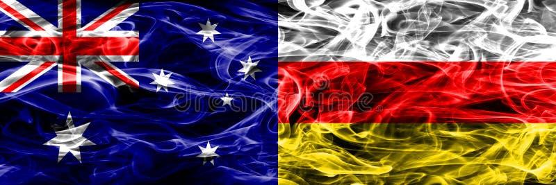 Australien gegen die bunte Rauchflagge Südossetiens gemacht vom dicken Rauche lizenzfreie abbildung