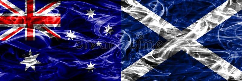 Australien gegen die bunte Rauchflagge Schottlands gemacht vom dicken Rauche lizenzfreie abbildung