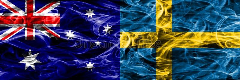 Australien gegen die bunte Rauchflagge Schwedens gemacht vom dicken Rauche lizenzfreie abbildung