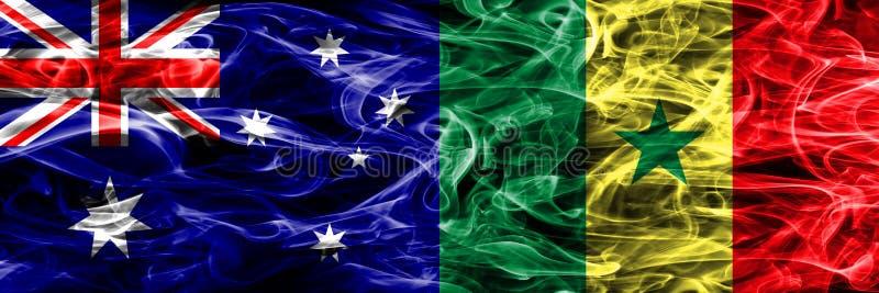 Australien gegen die bunte Rauchflagge Senegals gemacht vom dicken Rauche vektor abbildung