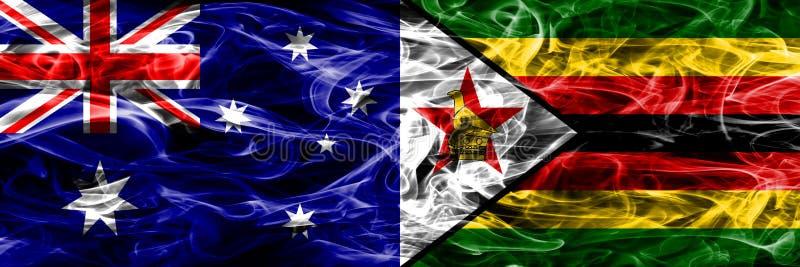 Australien gegen die bunte Rauchflagge Simbabwes gemacht vom dicken Rauche stock abbildung