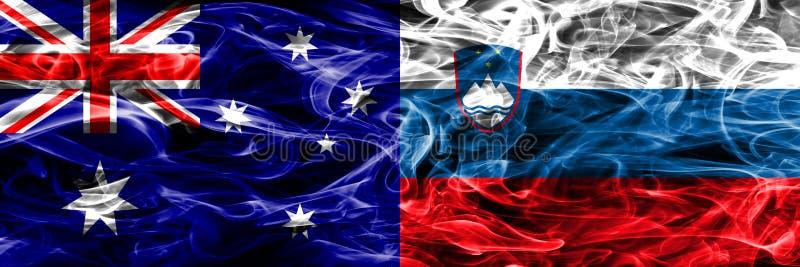 Australien gegen die bunte Rauchflagge Sloweniens gemacht vom dicken Rauche vektor abbildung