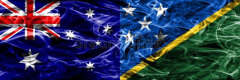 Australien gegen die bunte Rauchflagge Solomon Islandss gemacht von dickem s stock abbildung