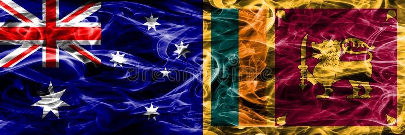 Australien gegen die bunte Rauchflagge Sri Lankas gemacht vom dicken Rauche stock abbildung