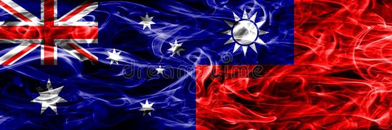 Australien gegen die bunte Rauchflagge Taiwans gemacht vom dicken Rauche vektor abbildung