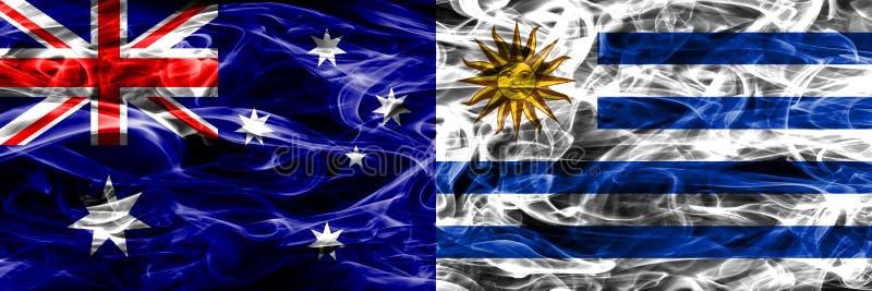 Australien gegen die bunte Rauchflagge Uruguays gemacht vom dicken Rauche stock abbildung