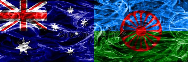 Australien gegen die bunte Rauchzigeunerflagge gemacht vom dicken Rauche vektor abbildung