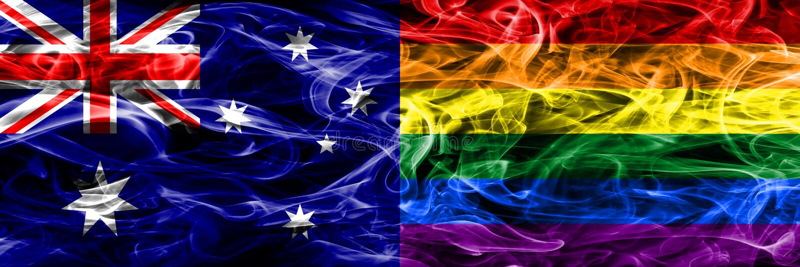 Australien gegen die homosexuelle bunte Rauchflagge gemacht vom dicken Rauche lizenzfreie abbildung