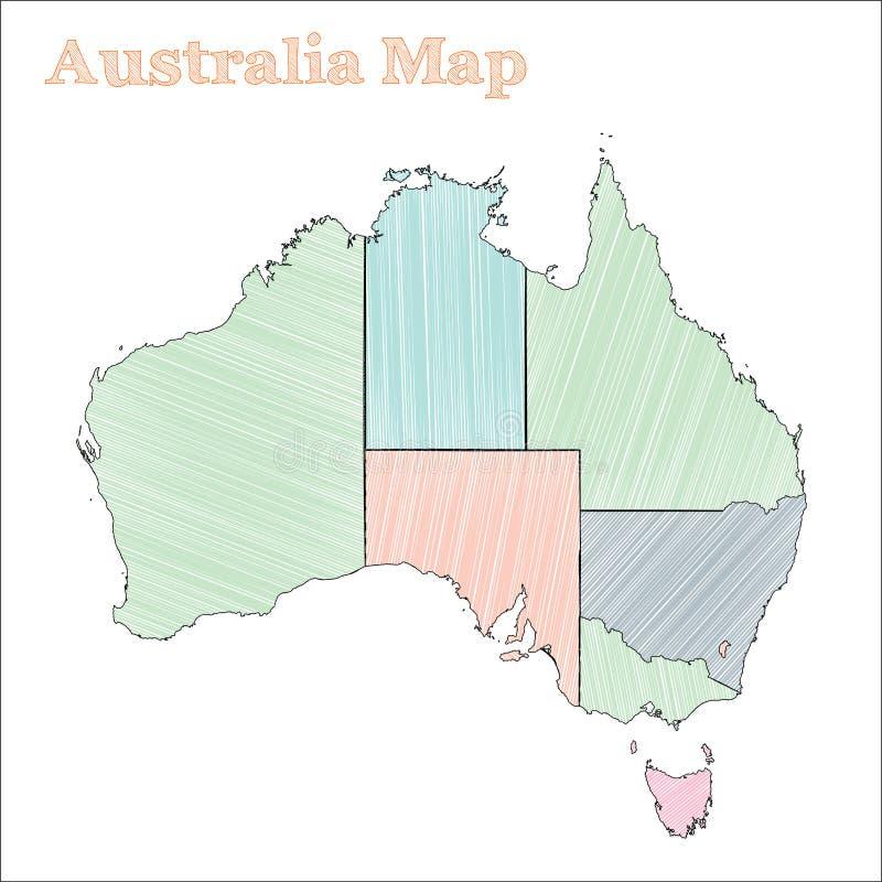 Australien hand-dragen översikt stock illustrationer