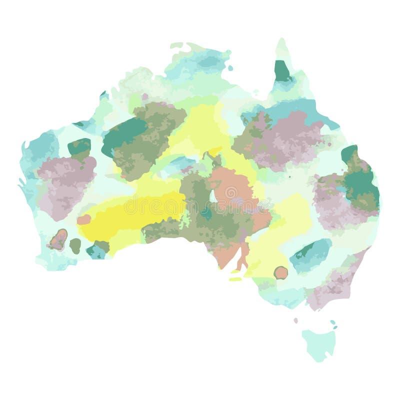 australien Hand gezeichnete bunte Karte des Aquarells grüner Kontinent vektor abbildung