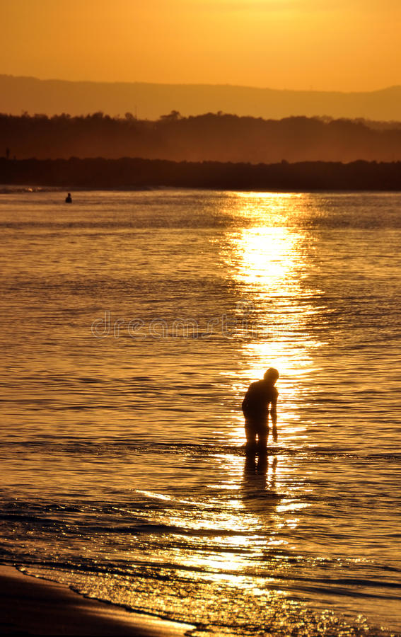 Australien heads den noosaqueensland solnedgången royaltyfria foton