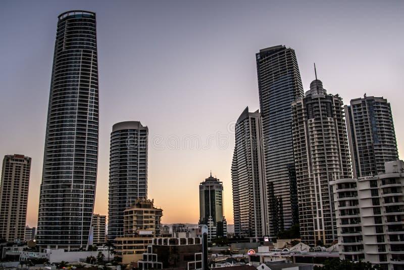 Australien horisontsolnedgång arkivbilder