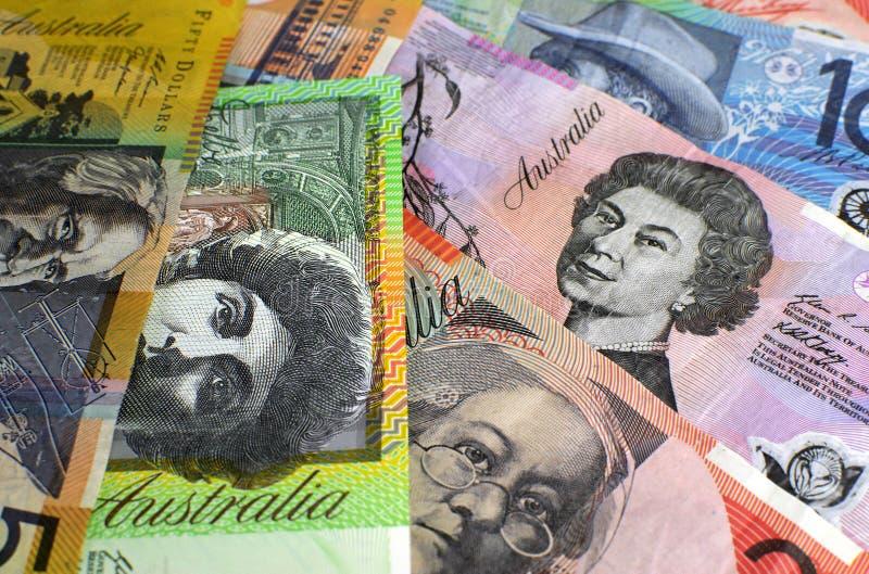 Australien hundra, femtio, tjugo, tio och fem dollaranmärkningar arkivbild