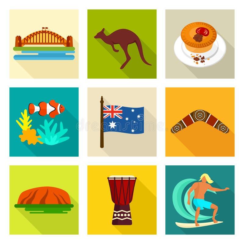 Australien-Ikonensatz stock abbildung
