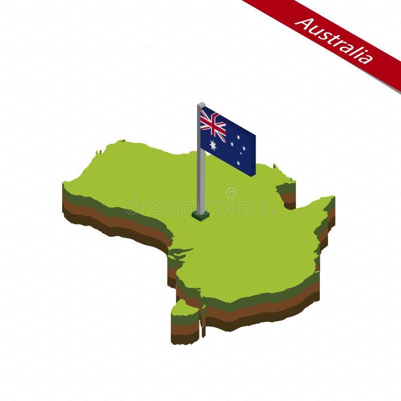 Australien isometrisk översikt och flagga också vektor för coreldrawillustration vektor illustrationer
