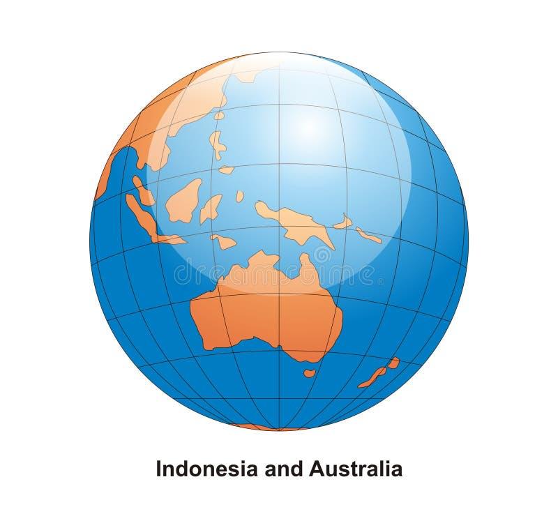 Australien jordklot indonesia stock illustrationer