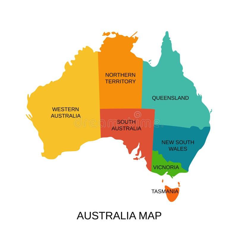 Australien-Karte mit Regionen Auch im corel abgehobenen Betrag Gebiet des australischen Staats vektor abbildung