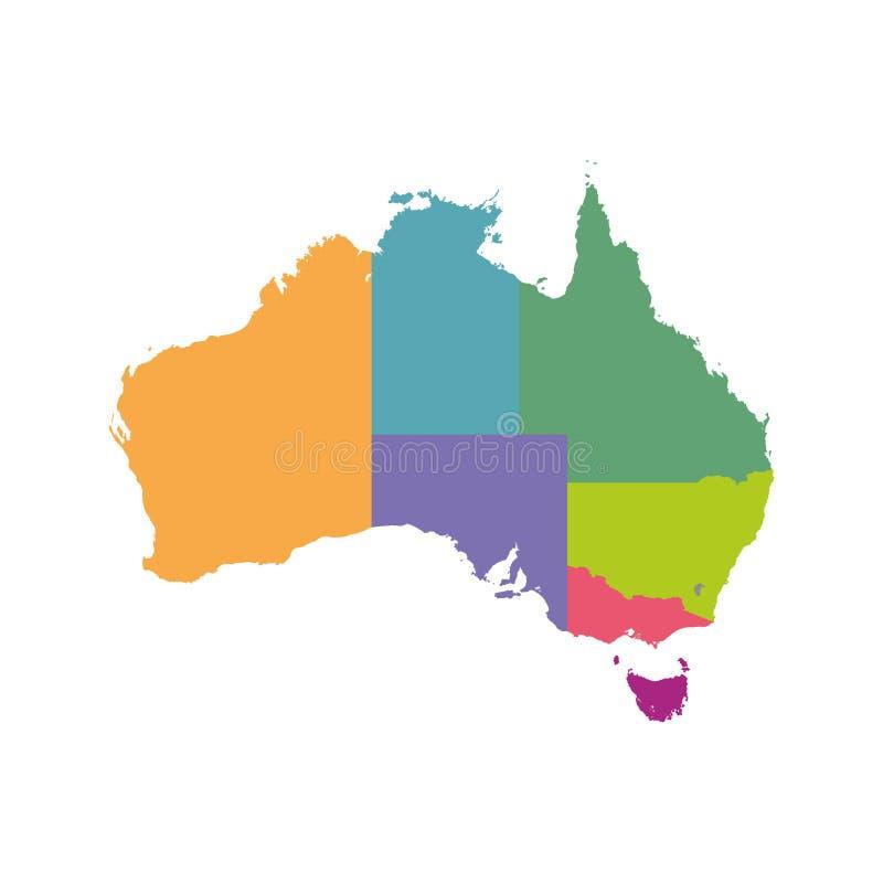 Australien-Kartenfarbe mit Regionen Vektor flach stock abbildung