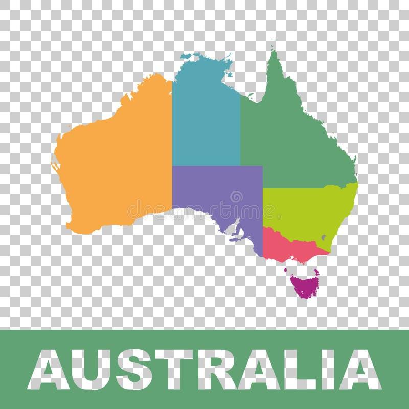 Australien-Kartenfarbe mit Regionen Vektor flach vektor abbildung