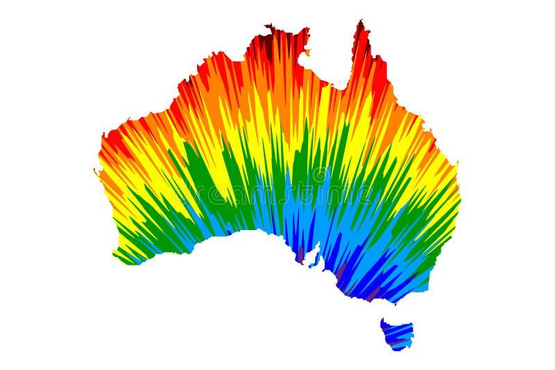 Australien kontinent - översikten är den planlagda abstrakta färgrika modellen för regnbågen stock illustrationer