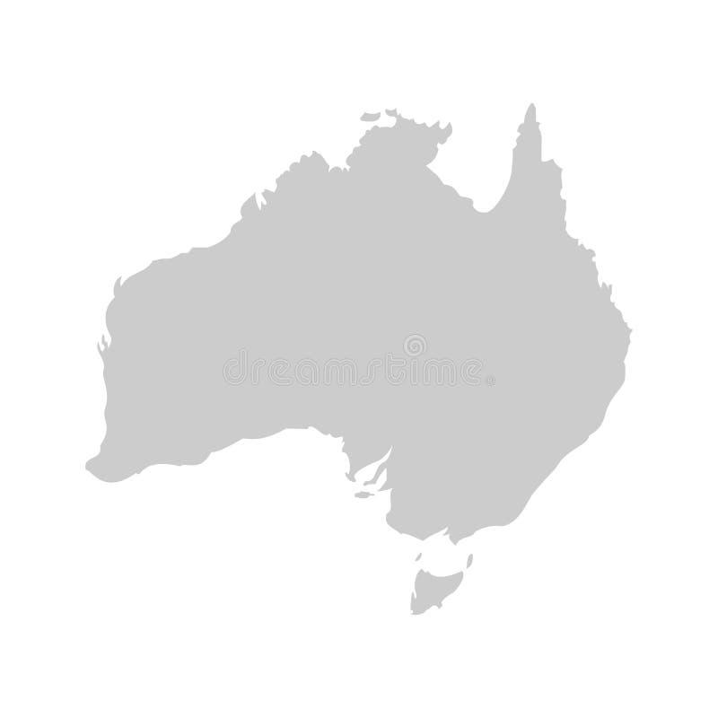 Australien-Kontinent Graue Vektorschablone lizenzfreie abbildung