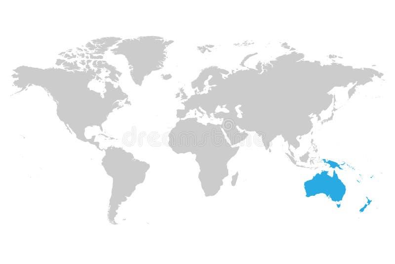 Australien kontinentblått som markeras i grå kontur av världskartan Enkel plan vektorillustration vektor illustrationer