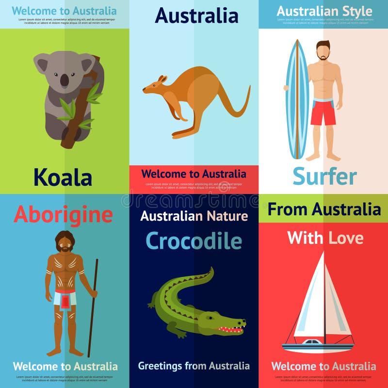 Australien Mini Poster Set vektor illustrationer