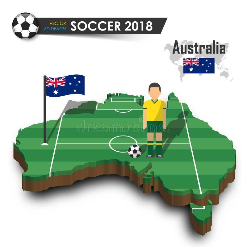 Australien nationellt fotbolllag Fotbollsspelare och flagga på landsöversikt för design 3d Isolerad bakgrund Vektor för internati stock illustrationer