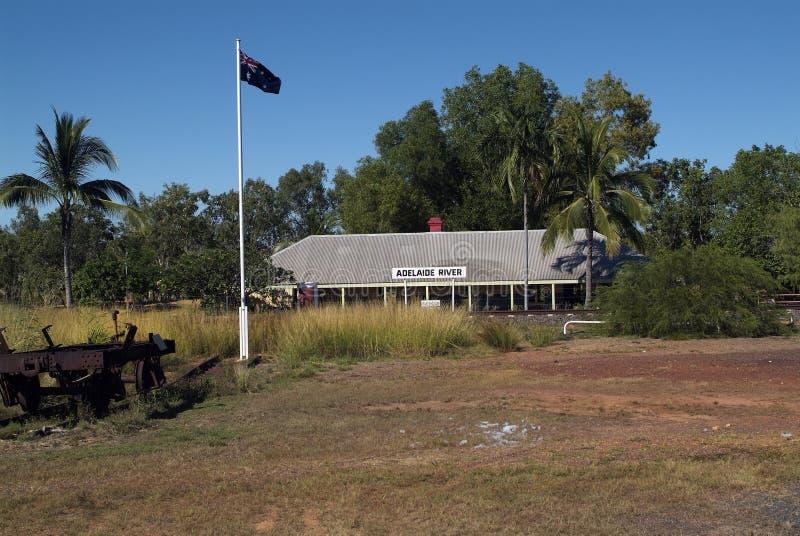 Australien nordligt territorium, järnvägsstation arkivfoto