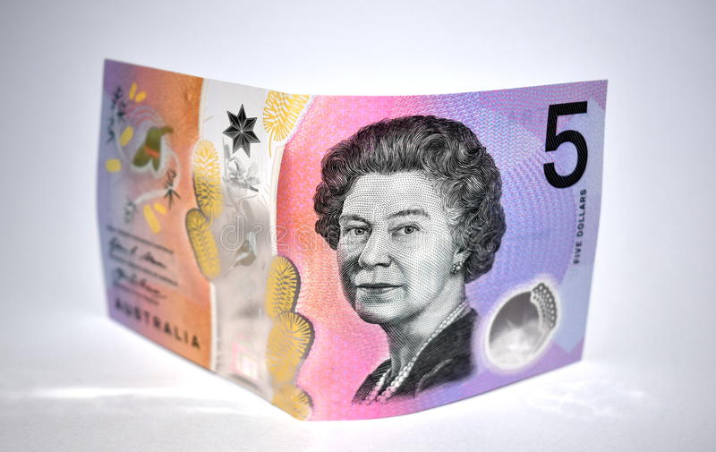 Australien note des cinq dollars photos stock
