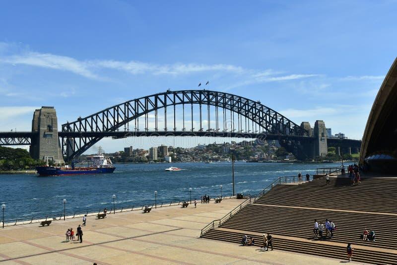 Australien, NSW, Sydney, Hafen-Brücke und Rundschreiben Quay stockfoto